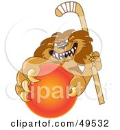 Royalty Free RF Clipart Illustration Of A Lion Character Mascot Grabbing A Hockey Ball