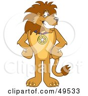 Royalty Free RF Clipart Illustration Of A Lion Character Mascot Wearing A Medal by Toons4Biz