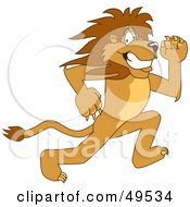 Royalty Free RF Clipart Illustration Of A Lion Character Mascot Running by Toons4Biz