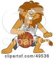 Lion Character Mascot Dribbling A Basketball