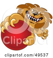 Lion Character Mascot Grabbing A Red Ball
