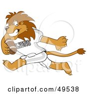Lion Character Mascot Playing Football