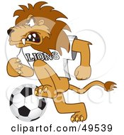 Lion Character Mascot Playing Soccer