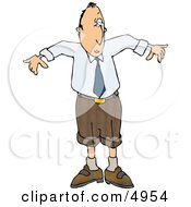 Man Wearing A Small Business Suit Humorous Business Clipart
