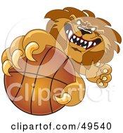 Lion Character Mascot Grabbing A Basketball