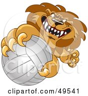 Royalty Free RF Clipart Illustration Of A Lion Character Mascot Grabbing A Volleyball by Toons4Biz