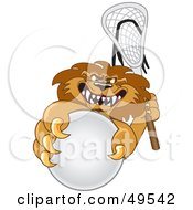 Lion Character Mascot Playing Lacrosse