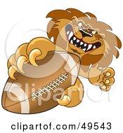 Lion Character Mascot Grabbing A Football