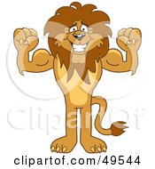Royalty Free RF Clipart Illustration Of A Lion Character Mascot Flexing by Toons4Biz