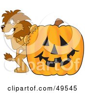 Lion Character Mascot With A Pumpkin