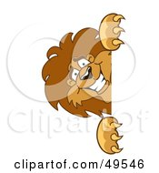 Royalty Free RF Clipart Illustration Of A Lion Character Mascot Peeking by Toons4Biz