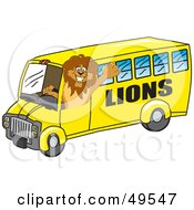 Royalty Free RF Clipart Illustration Of A Lion Character Mascot School Bus Driver