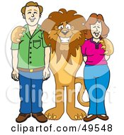 Lion Character Mascot With Adults