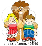 Lion Character Mascot With Students