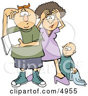 New Mom And Dad Trying To Figure Out How To Raise A Baby Boy Clipart by Dennis Cox