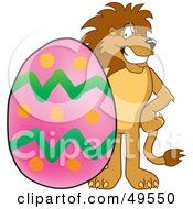 Royalty Free RF Clipart Illustration Of A Lion Character Mascot With An Easter Egg