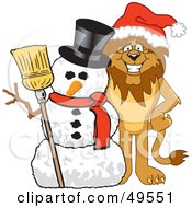 Lion Character Mascot With A Snowman
