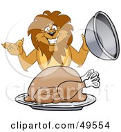 Royalty Free RF Clipart Illustration Of A Lion Character Mascot Serving A Turkey by Toons4Biz