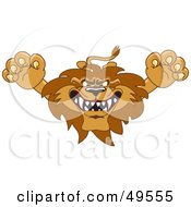 Royalty Free RF Clipart Illustration Of A Lion Character Mascot Lunging Forward by Toons4Biz
