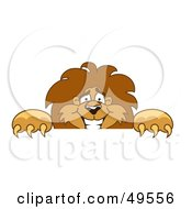 Royalty Free RF Clipart Illustration Of A Lion Character Mascot Looking Over A Surface by Toons4Biz