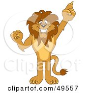 Royalty Free RF Clipart Illustration Of A Lion Character Mascot Pointing Up by Toons4Biz