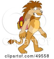 Royalty Free RF Clipart Illustration Of A Lion Character Mascot Walking To School by Toons4Biz