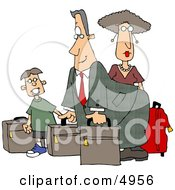 Dad Mom And Son Going On Vacation Travel Clipart