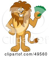 Lion Character Mascot Holding Cash