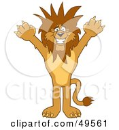 Royalty Free RF Clipart Illustration Of A Lion Character Mascot With Funky Hair by Toons4Biz