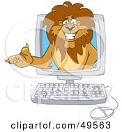 Lion Character Mascot In A Computer