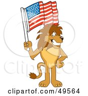 Lion Character Mascot Waving An American Flag