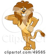 Royalty Free RF Clipart Illustration Of A Lion Character Mascot Leaning by Toons4Biz