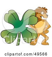 Lion Character Mascot With A Clover