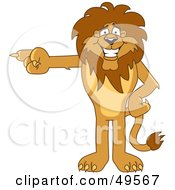 Lion Character Mascot Pointing Left