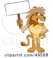 Lion Character Mascot With A Blank Sign