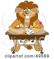 Royalty Free RF Clipart Illustration Of A Lion Character Mascot Taking A Quiz by Toons4Biz