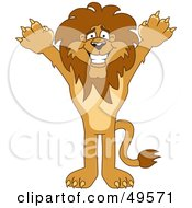 Lion Character Mascot Holding His Arms Up