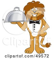 Royalty Free RF Clipart Illustration Of A Lion Character Mascot Serving A Platter by Toons4Biz