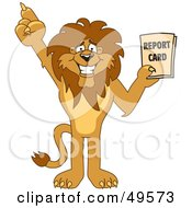 Lion Character Mascot Holding A Report Card