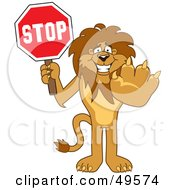 Royalty Free RF Clipart Illustration Of A Lion Character Mascot Holding A Stop Sign by Toons4Biz