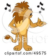 Royalty Free RF Clipart Illustration Of A Lion Character Mascot Singing by Toons4Biz
