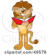 Royalty Free RF Clipart Illustration Of A Lion Character Mascot Reading by Toons4Biz