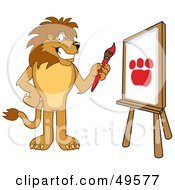Royalty Free RF Clipart Illustration Of A Lion Character Mascot Painting
