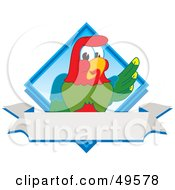 Royalty Free RF Clipart Illustration Of A Macaw Parrot Character Mascot Diamond Logo by Toons4Biz