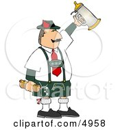 Man Celebrating Oktoberfest With A Beer Stein And Hot Dogs Clipart by djart #COLLC4958-0006
