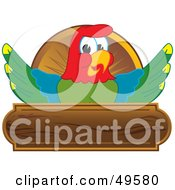 Royalty Free RF Clipart Illustration Of A Macaw Parrot Character Mascot Wooden Plaque Logo