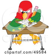 Royalty Free RF Clipart Illustration Of A Macaw Parrot Character Mascot Taking A Quiz by Toons4Biz