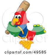 Royalty Free RF Clipart Illustration Of A Macaw Parrot Character Mascot Playing Baseball
