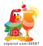 Macaw Parrot Character Mascot With A Fruity Cocktail