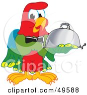 Macaw Parrot Character Mascot Serving A Platter